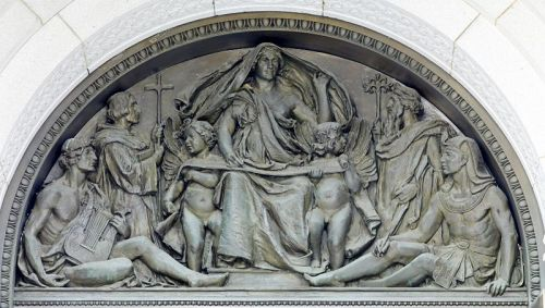 Tympanum representing 'Writing', by Olin Levi Warner. (Exterior of the main entrance doors of the Thomas Jefferson Building, Washington DC, 1896)
