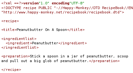 Example of RecipeBook, a simple markup language based on XML for creating recipes.