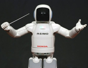 ASIMO, created by Honda, is a humanoid robot that is able to walk and interact with humans